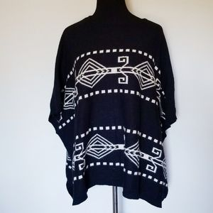 Forever 21 Black & White Tribal Sweater Poncho